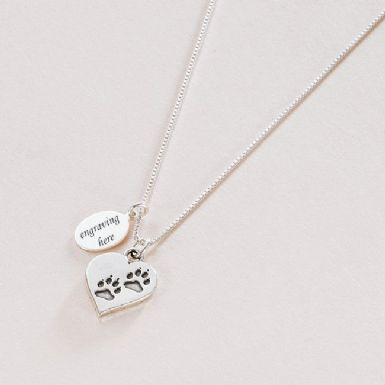 Pawprints on Heart Necklace with Engraved Tag | Someone Remembered